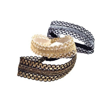 Charlotte Set. Three metallic Bandtz hair bands in black and silver, black and gold, and white and gold. Fashion hair accessory. Hair tie bracelet. Gold hair tie.