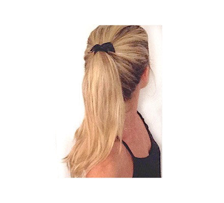 Black Satin Bow by Bandtz on Blonde ponytail. Featured in Bandtz Starlight Set