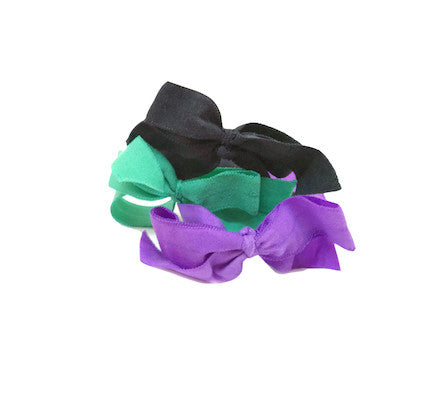 Bandtz Encore Set in Jewel. Three matte elastic hair bows in black, purple and green. Long lasting, no fray hair bows. Favorite hair tie for thick hair and thin hair. Kind to the hair.