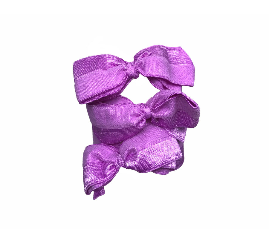 Brigitte Set in Lavender. Three Bandtz hair bows. Satin stretch elastic hair ties. No fray, no crease. Hair ribbon.