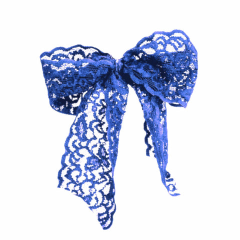 Blue Luxe Lace Pony Bow - Bandtz. Wide elastic lace hair bow. Handmade lace hair tie.