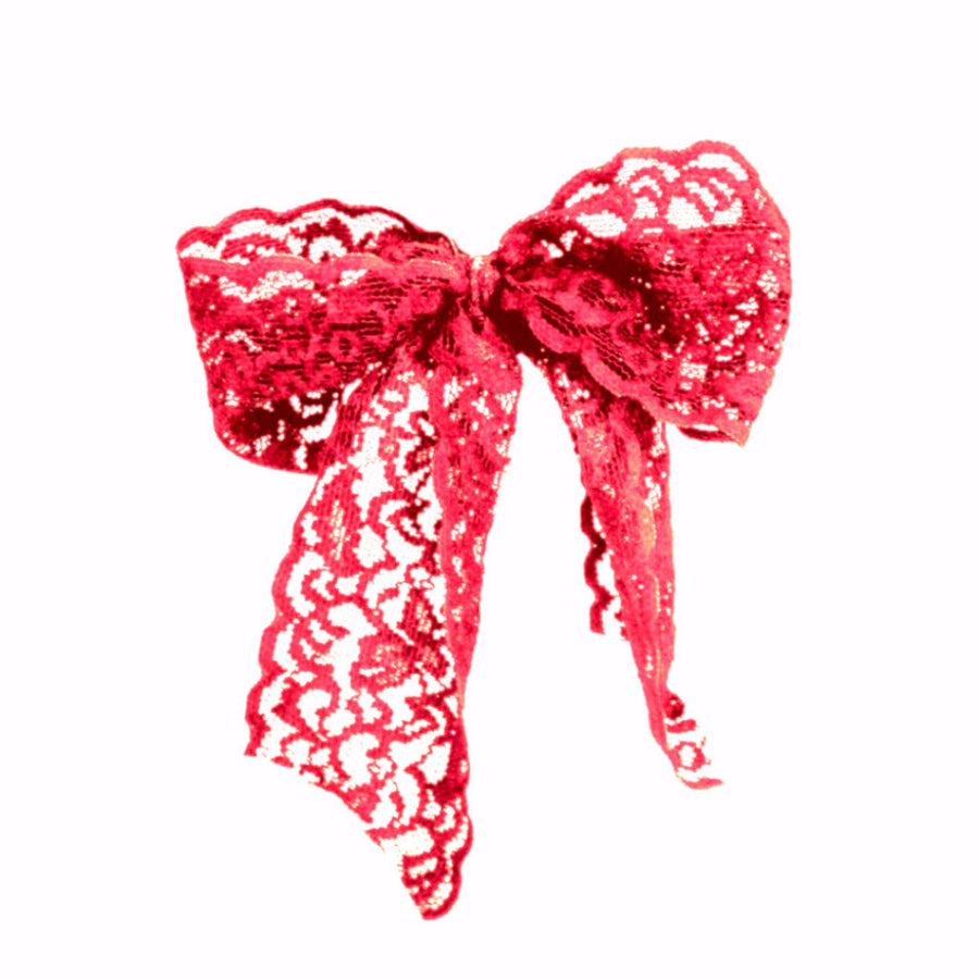 Bandtz Luxe Lace Pony Bow in Red. Wide elastic lace hair bow. Fancy hair bow. Handmade lace hair tie. Fashion hair accessory.
