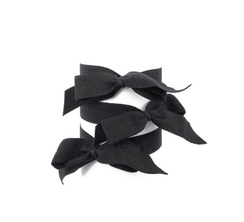 Bette Set. Three Bandtz hair elastics. Black bows. Black matte. No crease. Best hair tie. No fray, long lasting, classic.  Better than any scrunchie. Fold over elastic FOE but better.