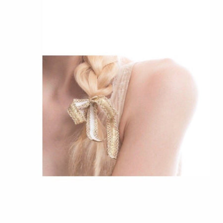 Bandtz Gilded Bow in White and Gold. Blonde braid with white and gold hair bow.  Hair bow handmade from unique metallic elastic lace. High end hair accessory.