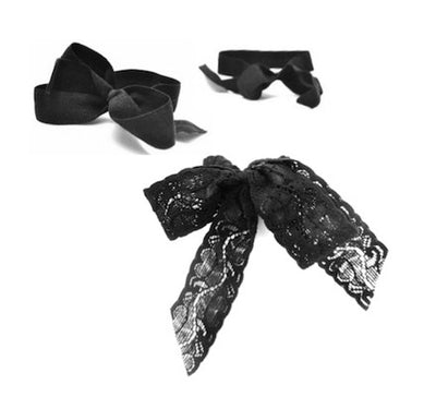 Bandtz Midnight Set. Set of three black hair elastic bows. One lace hair bow, two soft matte micro fiber hair bows.