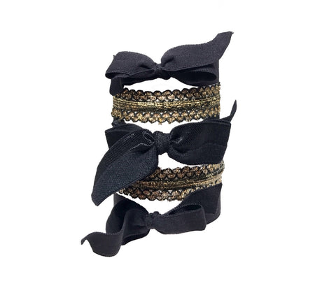 Monroe Set in Black - Bandtz hair ties in black and gold.
