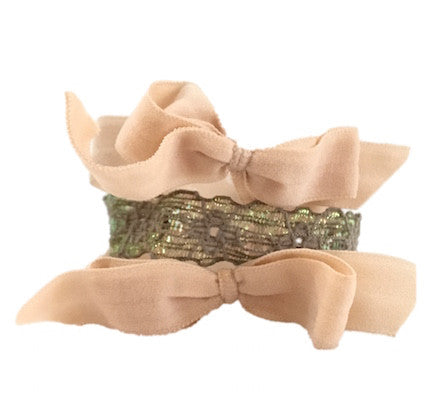 Bandtz Twilight Set in Nude and Taupe. Three elastic hair ties. Two nude microfiber hair bows and one elastic lace cuff.