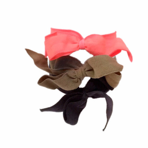 Bandtz Encore Set in Peach. Three matte elastic hair bows in peach, taupe and black. Long lasting, no fray hair bows. Favorite hair tie for thick hair and thin hair. Kind to the hair.