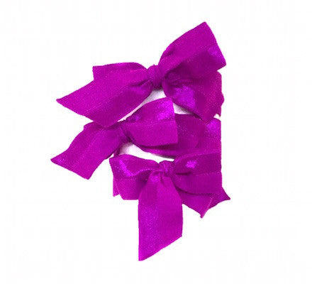 Brigitte Set in Magenta. Radiant Orchid. Three Bandtz hair bows. Satin stretch elastic hair ties. No fray ends, no crease in the hair. Hair ribbon look.