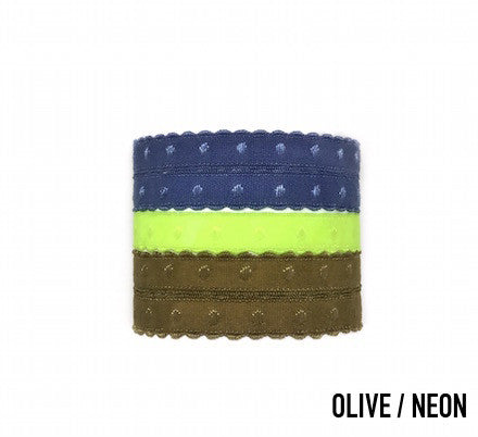 Bandtz Voltaire Set in olive neon. Set of five Bandtz hair ties from the ManBandtz collection. Hair ties for guys.