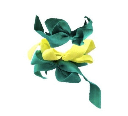 Encore Set by Bandtz in Spring. Three matte elastic hair bows in yellow and green. Long lasting, no fray hair bows. Favorite hair tie for thick hair and thin hair. Kind to the hair.