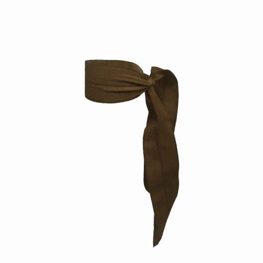 Bandtz Matte Wide Tail in Brown. Elastic Hair Ribbon