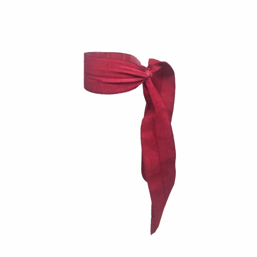 Bandtz Matte Wide Tail in Red. Ribbon Hair elastic