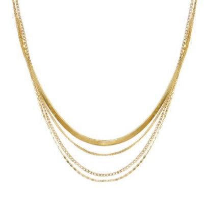 Quad-Strand Mixed Chain Necklace