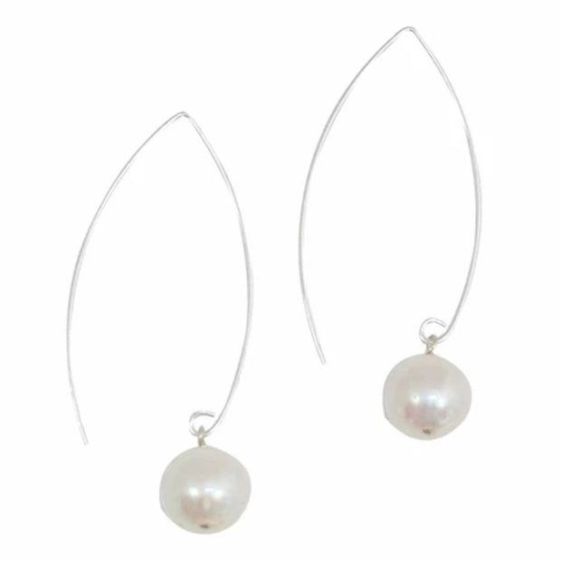 Sterling Silver Freshwater Pearl Threader Earrings