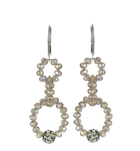 Hand Beaded Cut Crystal Drop Earrings Nude