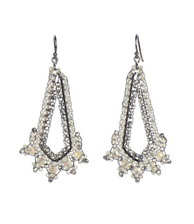 Handwoven Diamond in Cut Crystal Earrings