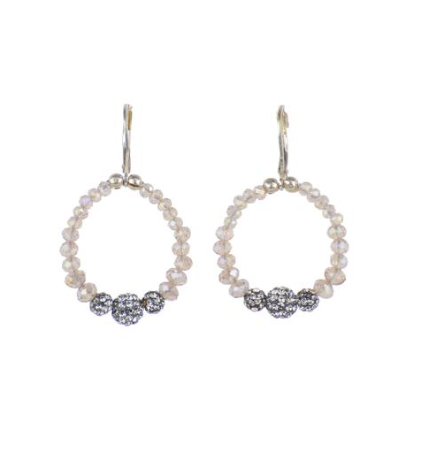 Hand Beaded Petite Hoop Earrings Nude