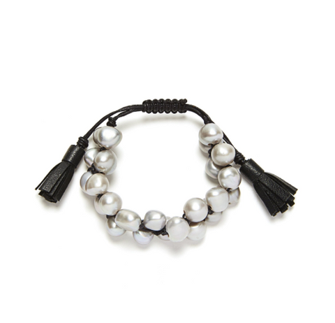 TASSEL BRACELET - GREY/BLACK