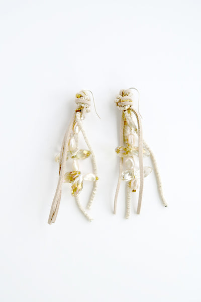 Knotted Suede Beaded Earrings Cream