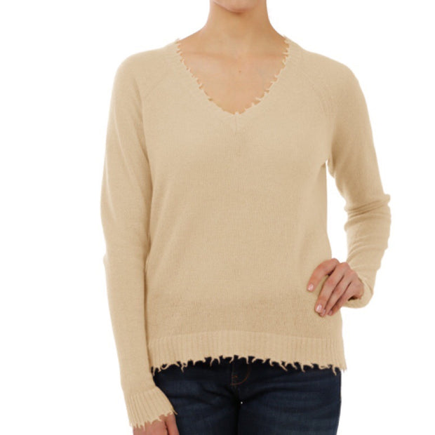 Minnie Rose Cashmere Distressed Sweater