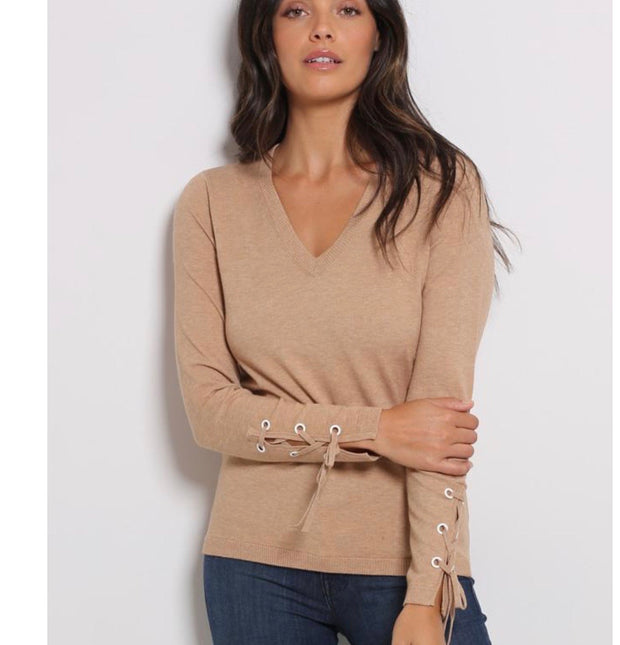 Minnie Rose Lace up Sleeve V Neck Pullover