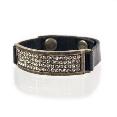 Leather Bracelet w/ Crystals