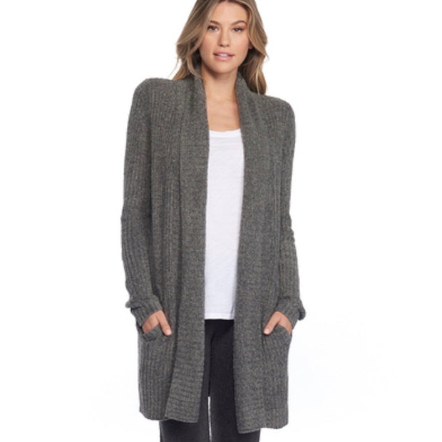 Barefoot Dreams Montecito Cardi/ Heathered Loden