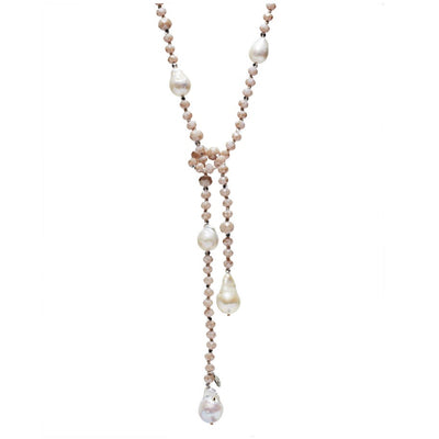 Crystal Lariat, Rose , W/Baroque Pearls