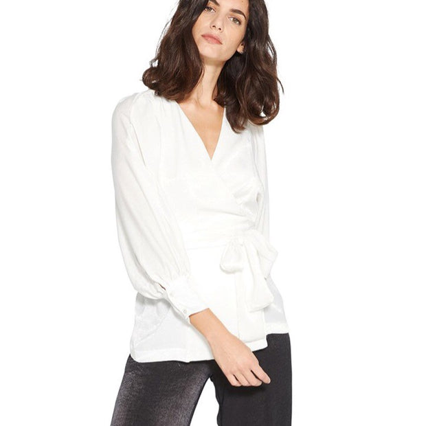 Misa Satin Wrap Blouse