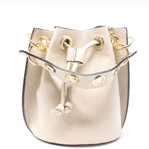 Leather Bucket Bag/ Bone