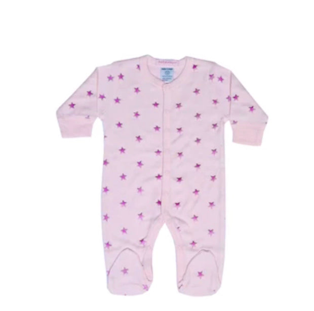 Baby Steps pink star Footie