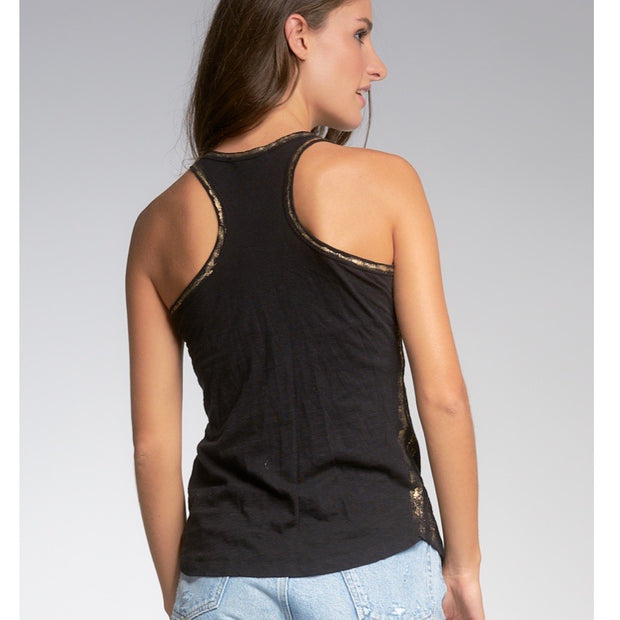 Elan Tank Top w/Gold Lurex Trim