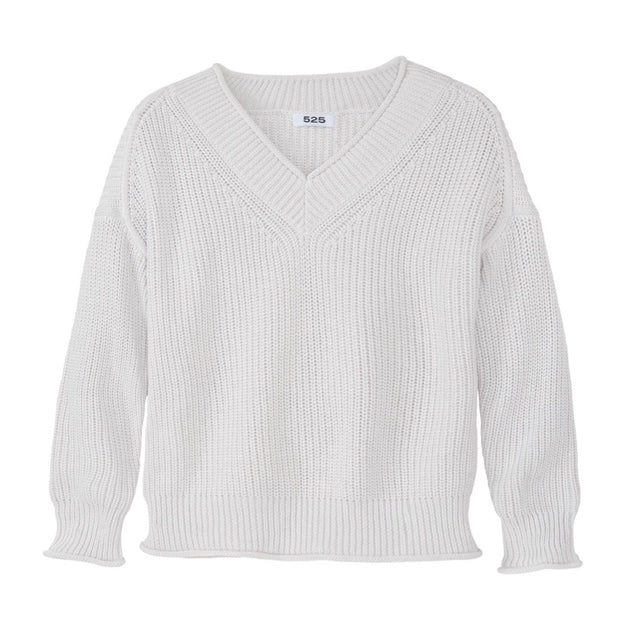 525 America Roll V- Neck Sweater / Silver