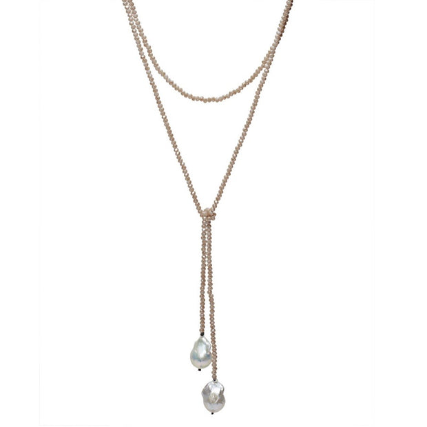 Crystal Lariat w/Baroque Pearls