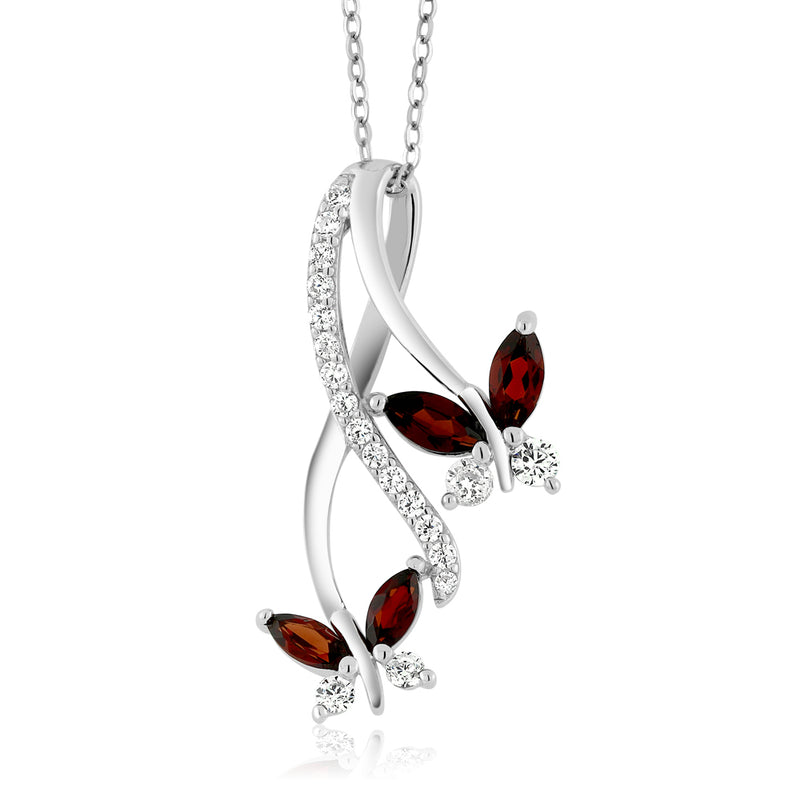 Sterling silver butterfly infinity natural red garnet pendant sterling silver butterfly infinity natural red garnet pendant january birthstone mozeypictures Gallery