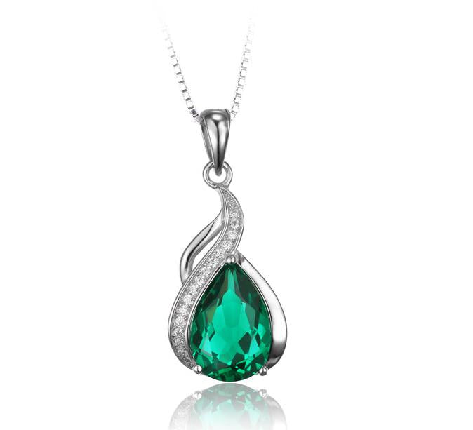 Sterling silver high quality created emerald pendant may birthstone sterling silver high quality created emerald pendant may birthstone wandr jewelry aloadofball Choice Image