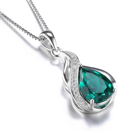 Sterling silver high quality created emerald pendant may birthstone sterling silver high quality created emerald pendant may birthstone aloadofball Images