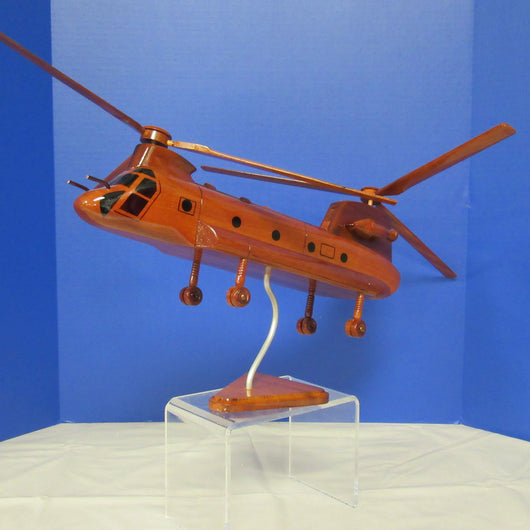 CH-47 Chinook Helicopter Mahogany Wood Model