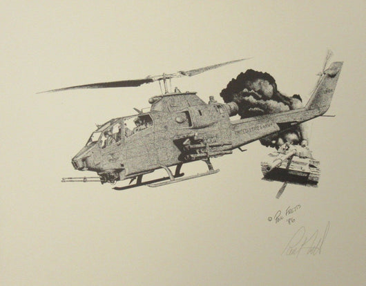AH-1S Cobra Helicopter with T-62 Tank Print by Paul Fretts