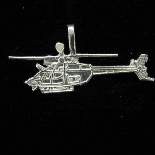 OH-58D Kiowa Helicopter Sterling Silver Charm LARGE