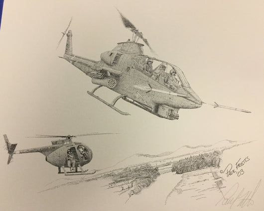AH-1G with OH-6 Print by Paul Fretts