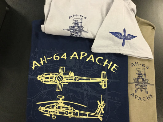 AH-64 Apache Helicopter T-Shirt w/map