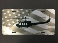 UH-1 Huey License Plate with Flag, Black and White