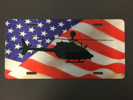 OH-58 Kiowa Helicopter License Plate with flag (Color)