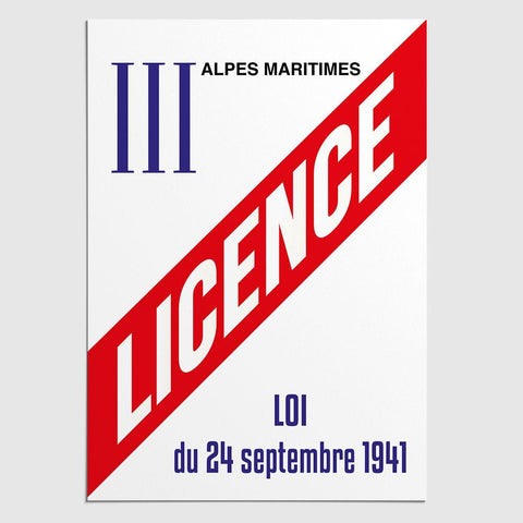 Panneau Licence 3 / Licence III Alpes Maritimes (06)