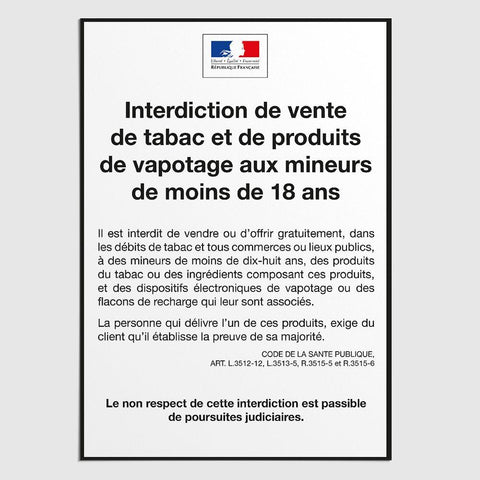 Affichage Interdiction de Vente de Tabac aux Mineurs Interdiction Vente Tabac Mineurs MCA Group