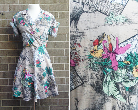 50s Tropical Maps Vacation Dress