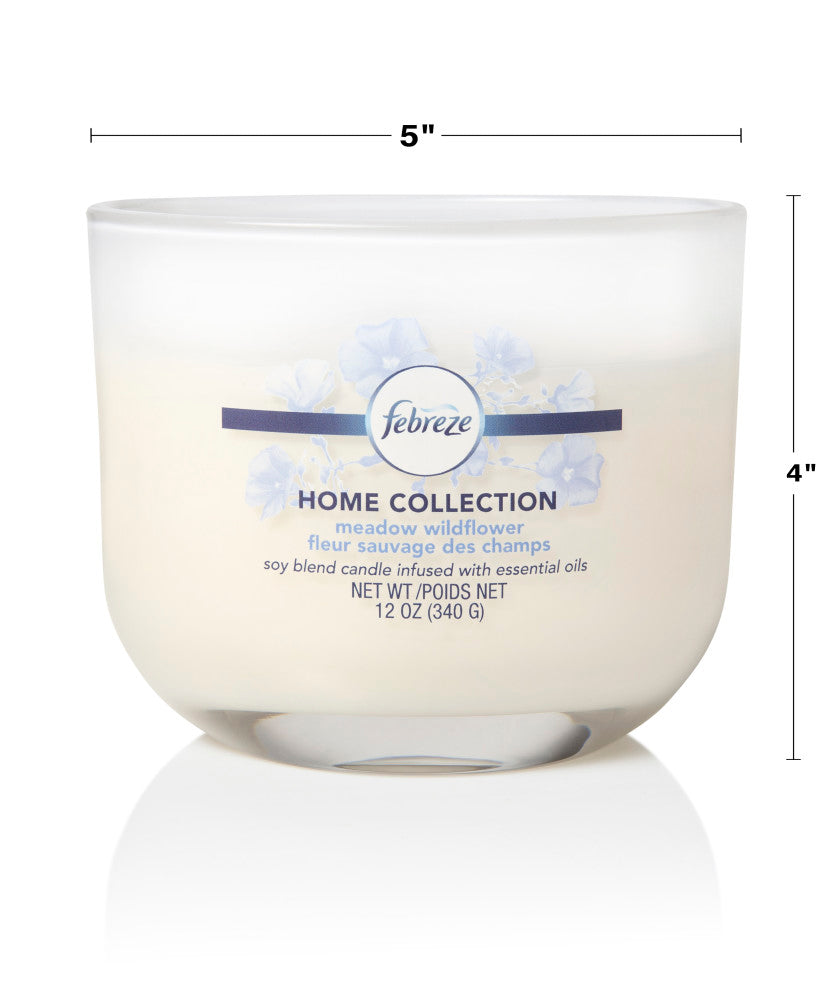 Febreze Home Collection Scented Jar Candle, Meadow Wildflower, 12 oz, Single - Febreze Home Collection