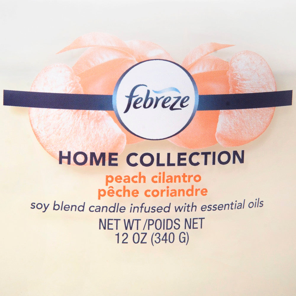 Febreze Home Collection Scented Jar Candle, Peach Cilantro, 12 oz, Single - Febreze Home Collection